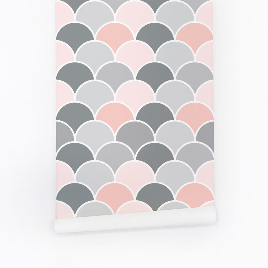 Pink and grey scallop print wallpaper