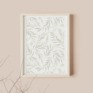 Light green olive tree leaves print