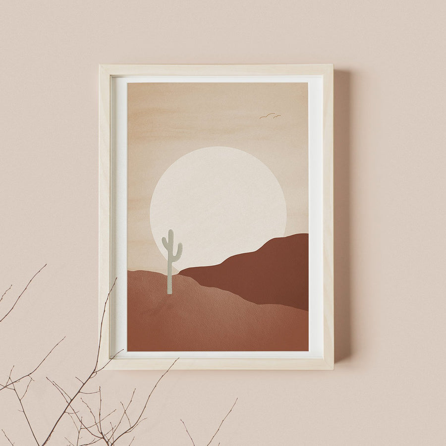 Sunset in the desert painting poster