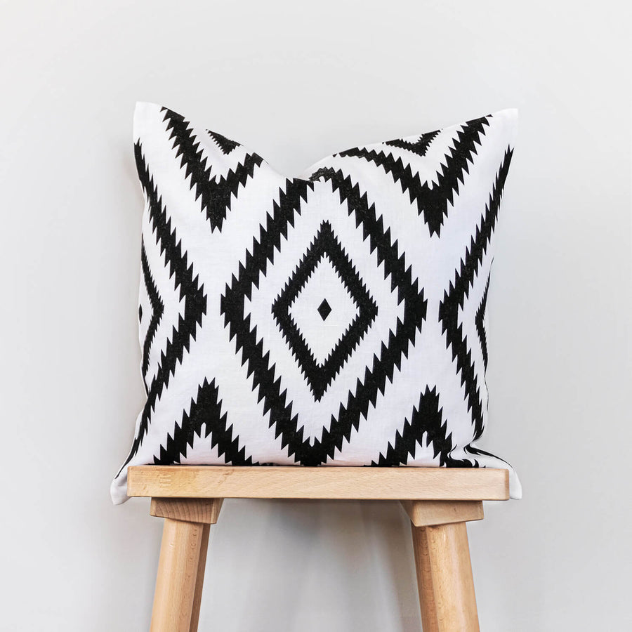 Tribal print washed linen throw pillow cover
