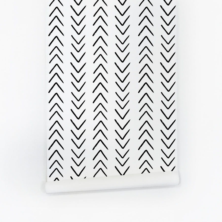 Black and white scandinavian arrows removable wallpaper