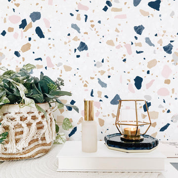 Pastel color terrazzo tile wallpaper interior