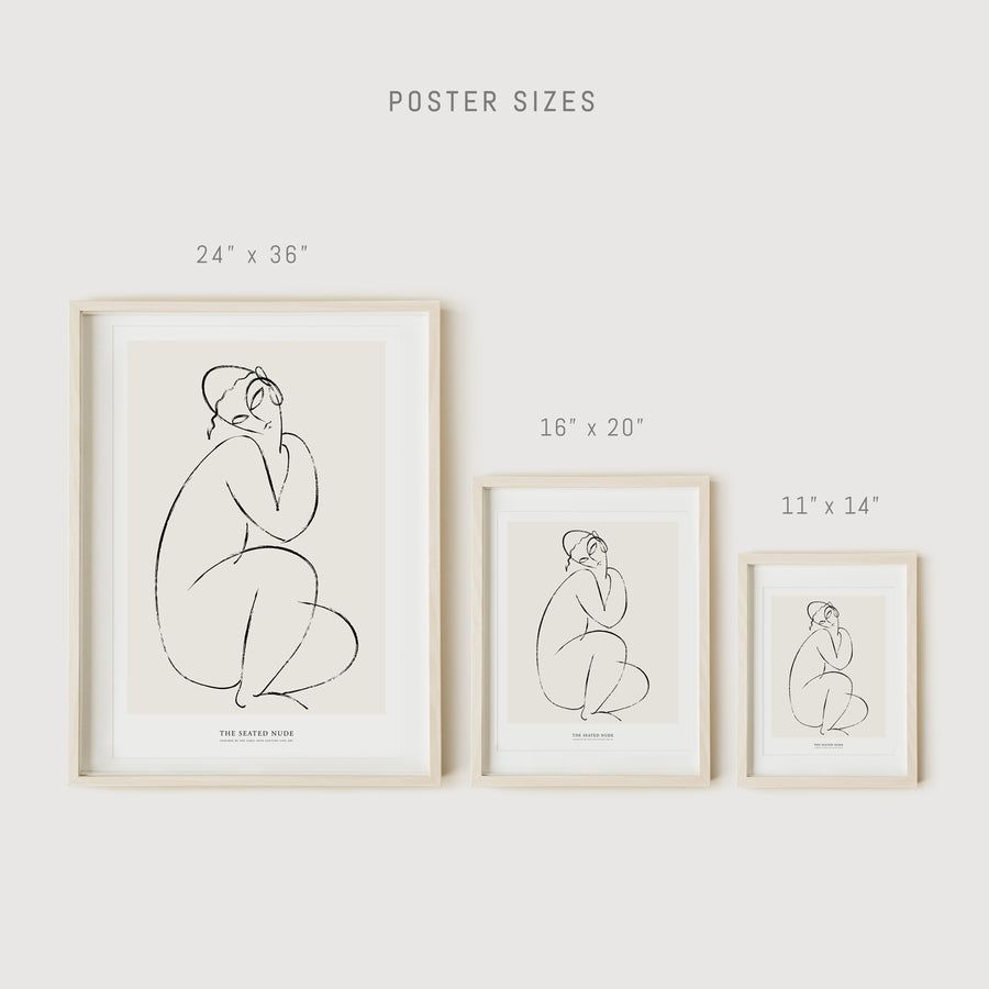 Nude wall art print in abstract sketch style