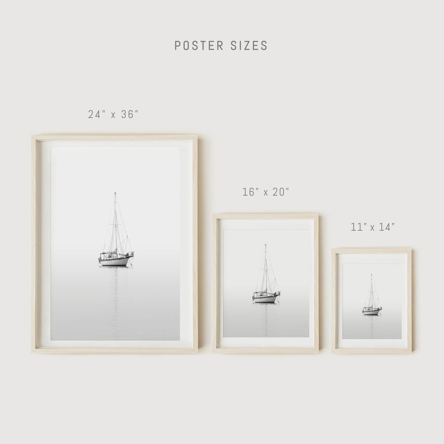 Nautical poster decor with sailing yacht