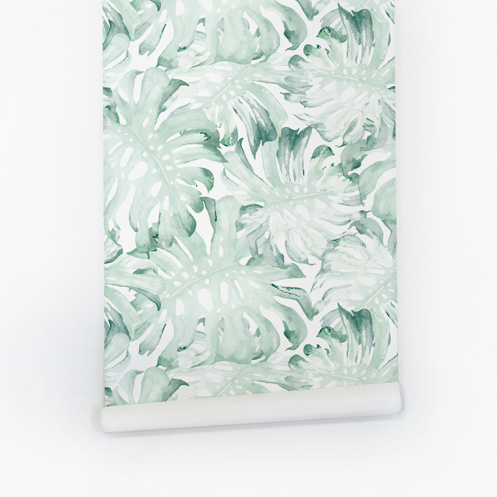 Green tropical leaves peel and stick wall mural