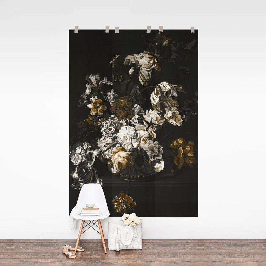 Dark floral removable wallpaper, black floral wall mural