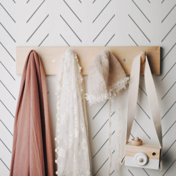 Grey delicate herringbone baby girl nursery wallpaper