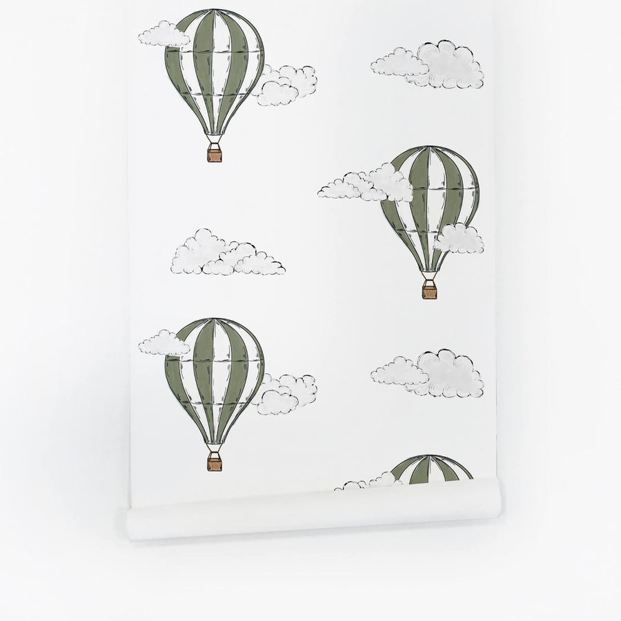 Khaki green removable wallpaper with hot air balloon design in watercolor technique