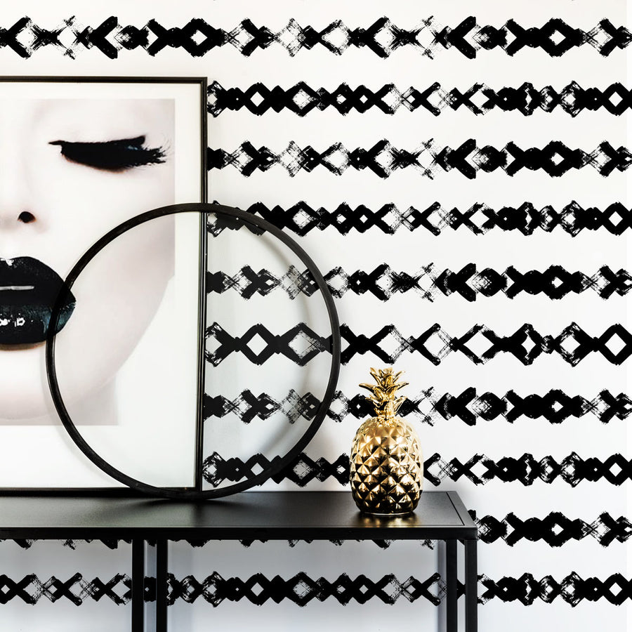 Black and white barbed wire accent wall