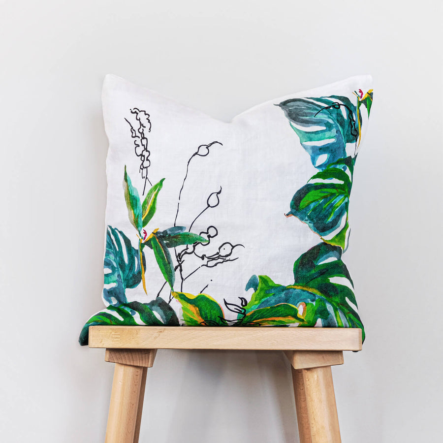 Monstera leaves print washed linen throw pillow cover