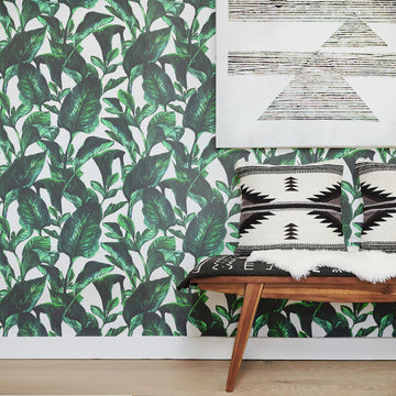 Tropical leaves removable wallpaper