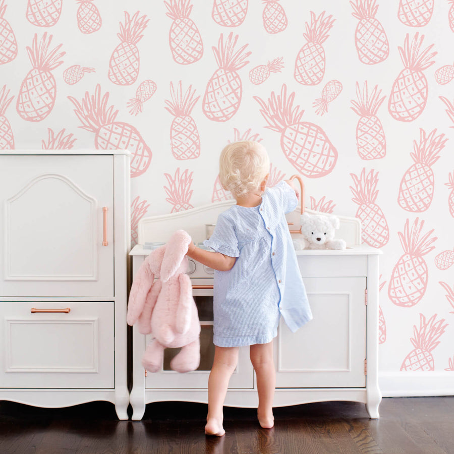 Tropical pineapple pattern removable wallpaper