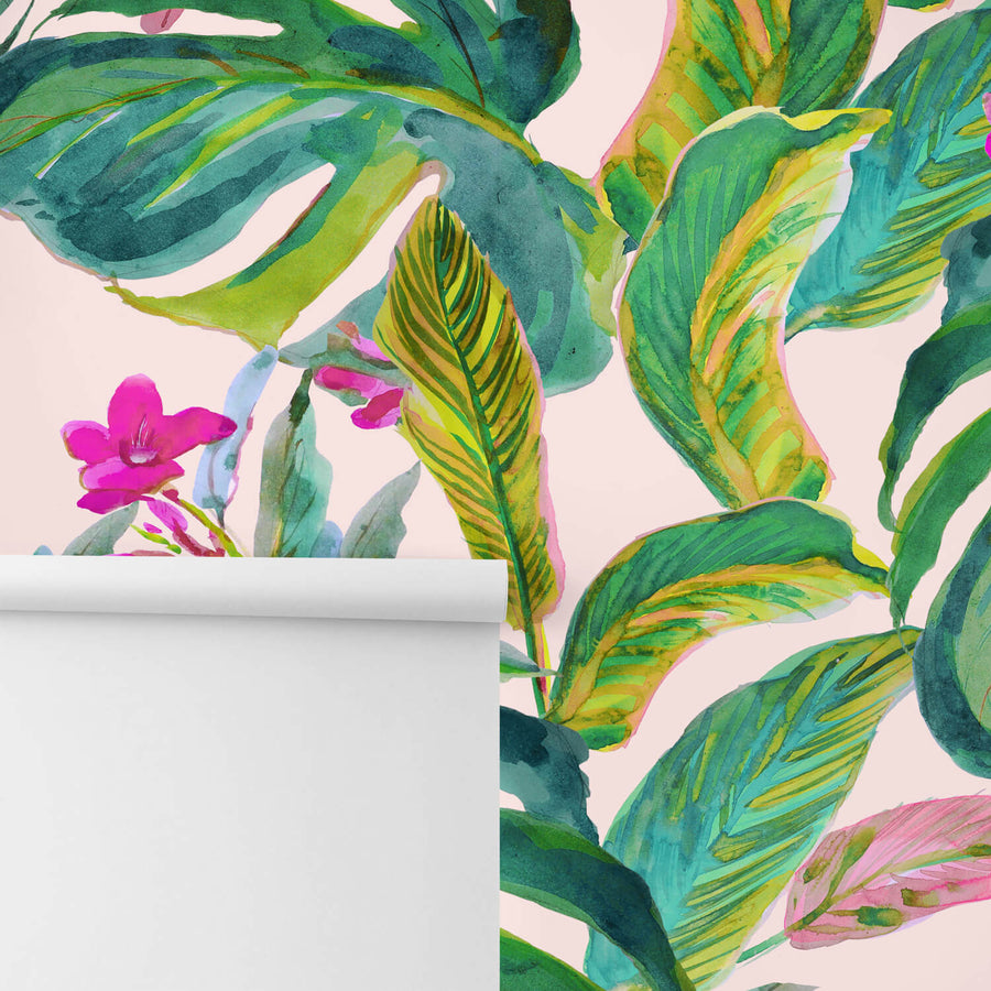 Bright pink jungle removable wallpaper and wall mural