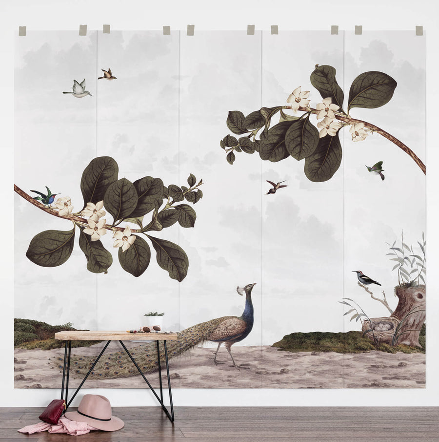 Magical forest inspired removable wallpaper in kids room interior