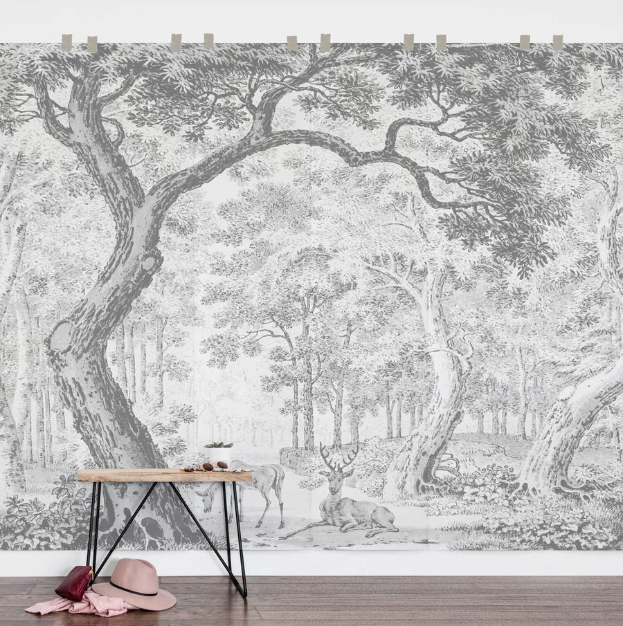 Enchanted forest wall mural for nursery and kids room interiors