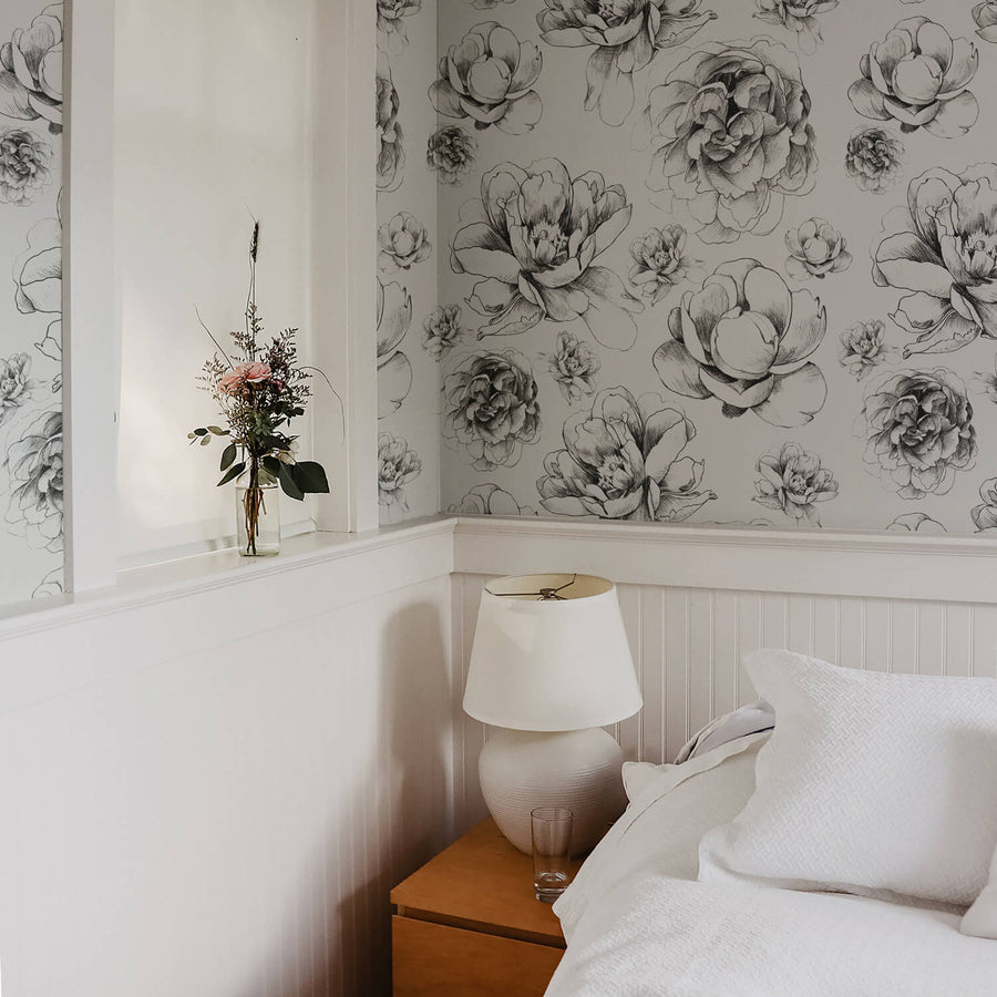 Vintage peony print removable wallpaper