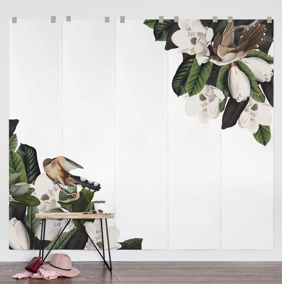 Vintage botanical wall mural with birds and flowers for kids room interiors