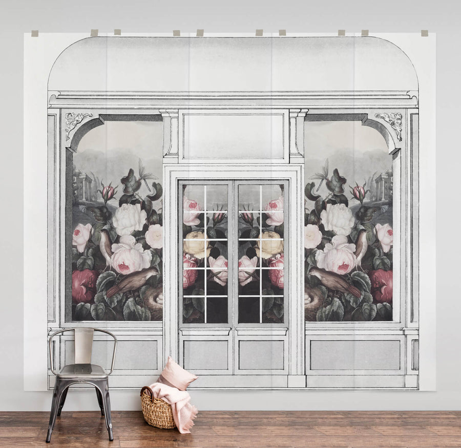 Vintage dutch floral wall mural in pastel pink living room interior
