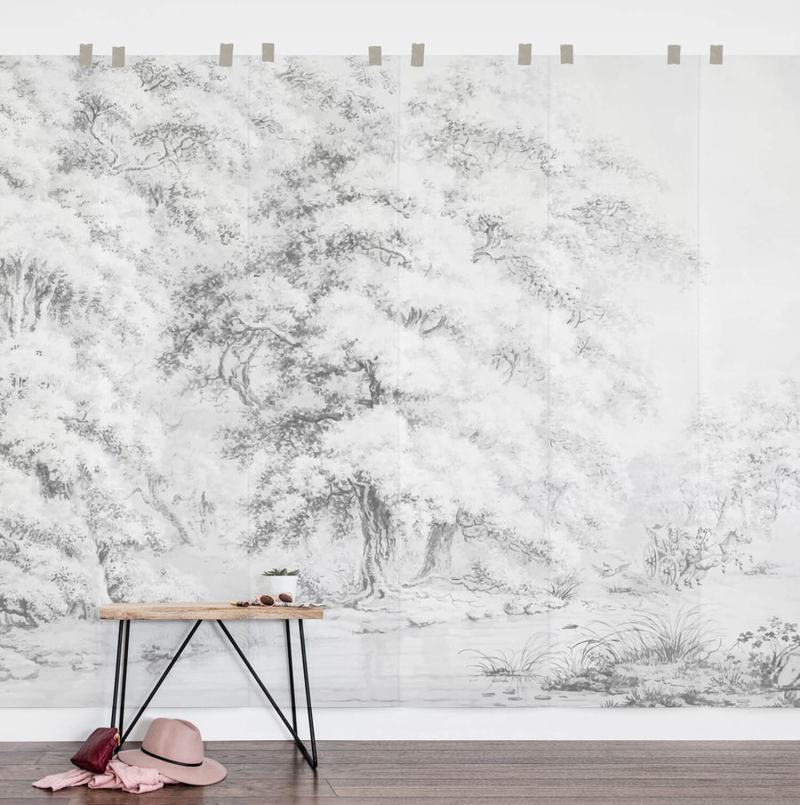 Vintage magical forest wall mural in soft grey for gender neutral nursery interior