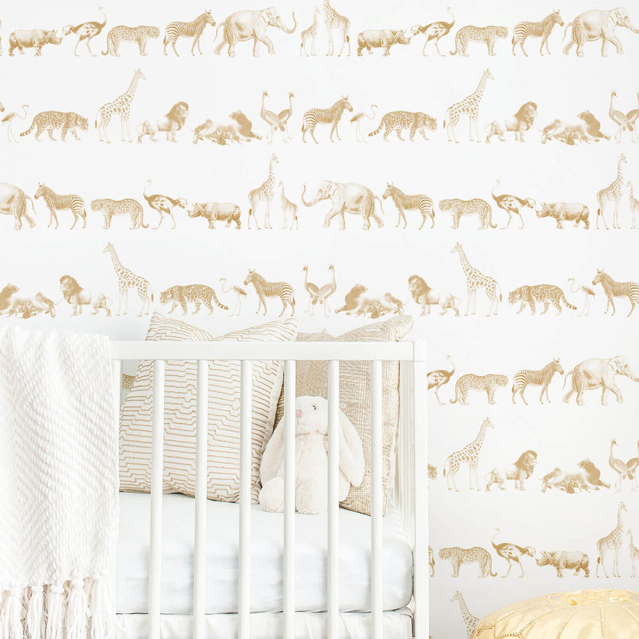 Nursery vintage animal safari wallpaper