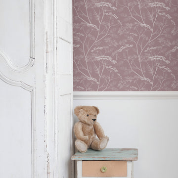 Dusty pink floral girl's room wallpaper