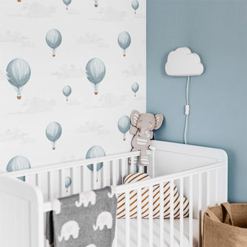 Blue vintage air balloons removable wallpaper