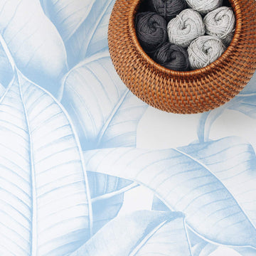 Light blue palm leaf removable wallpaper for nursery interior