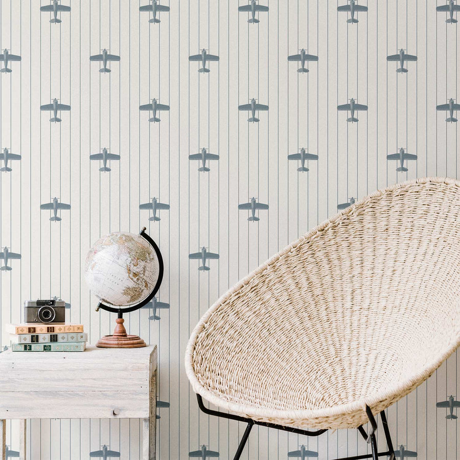 Vintage airplane pattern removable wallpaper