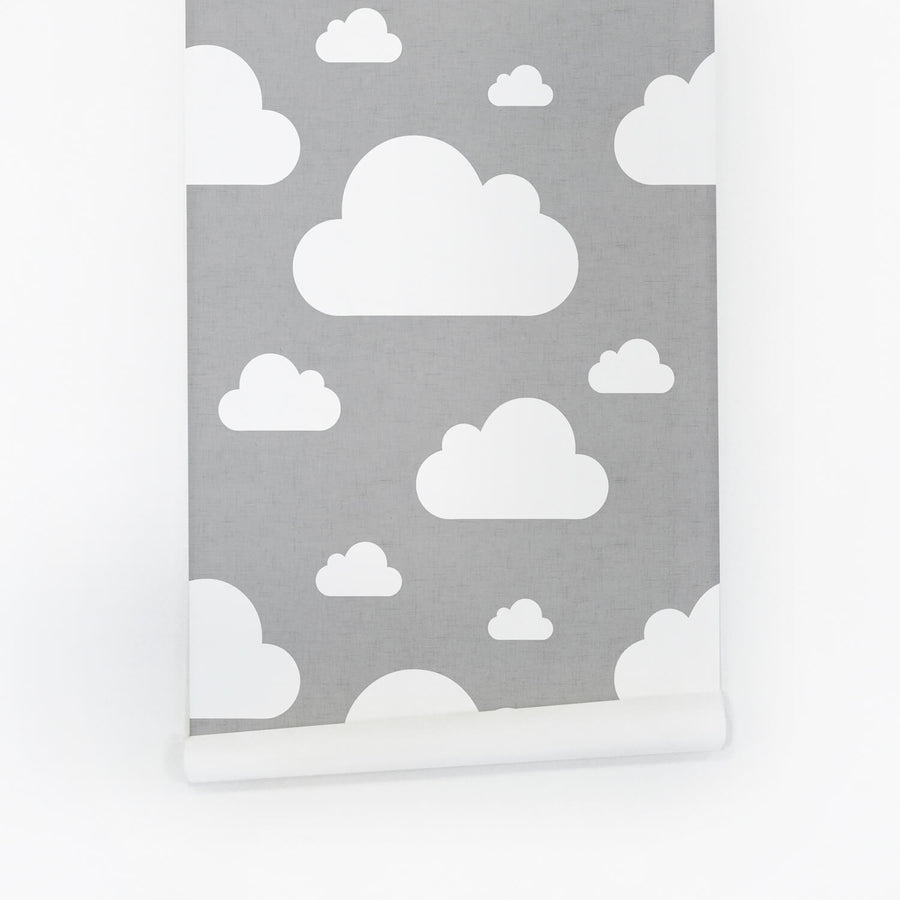 Grey and white clouds removable wallpaper