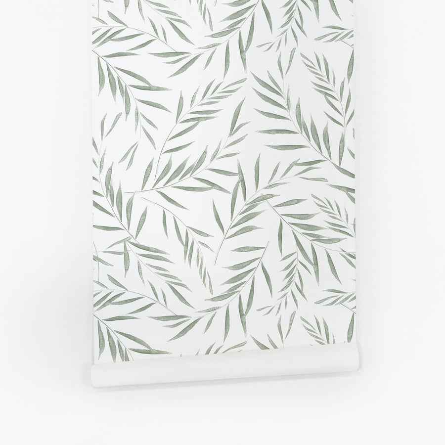 Olive tree leaves temporary peel and stick wallpaper