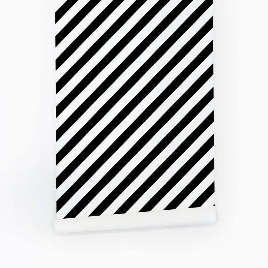 Black & white bold diagonal lines removable wallpaper