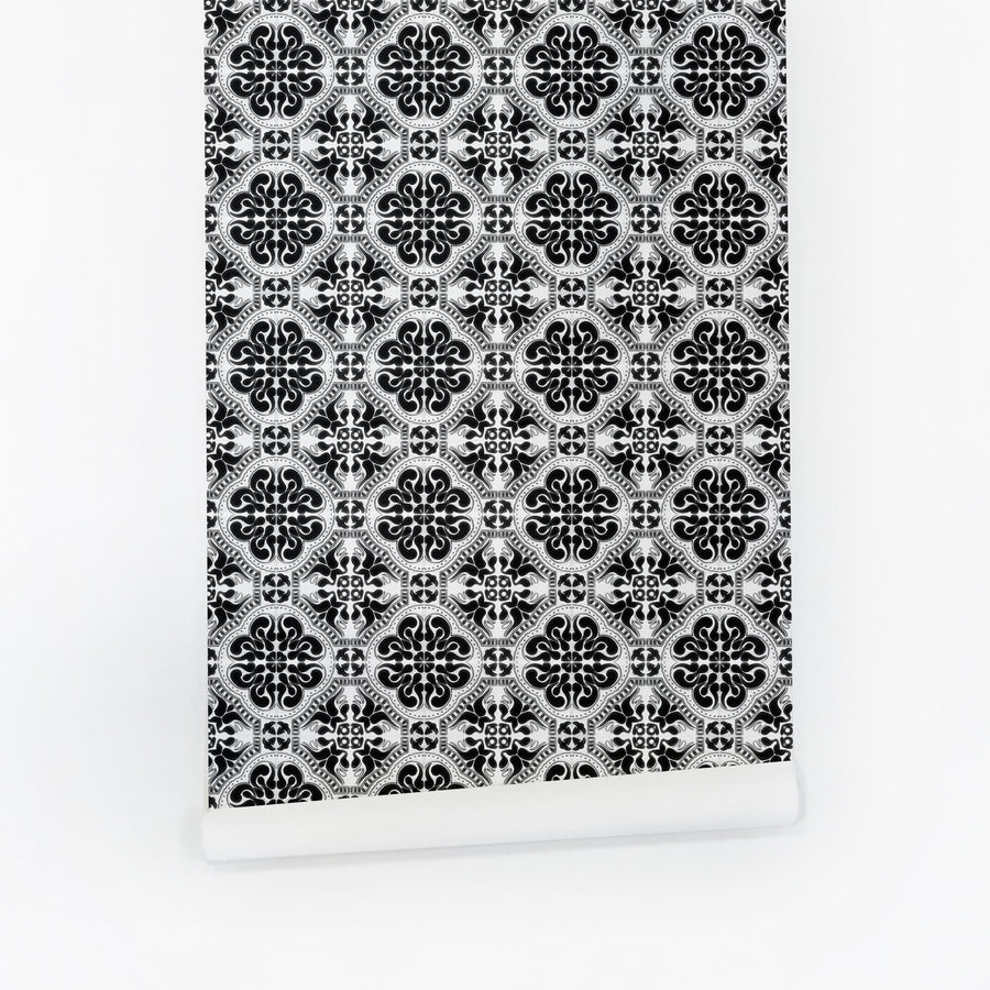 Black Moroccan tile removable wallpaper