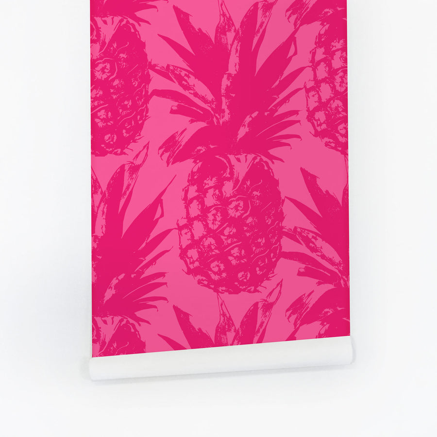 Fuchsia Pink pineapple removable wallpaper