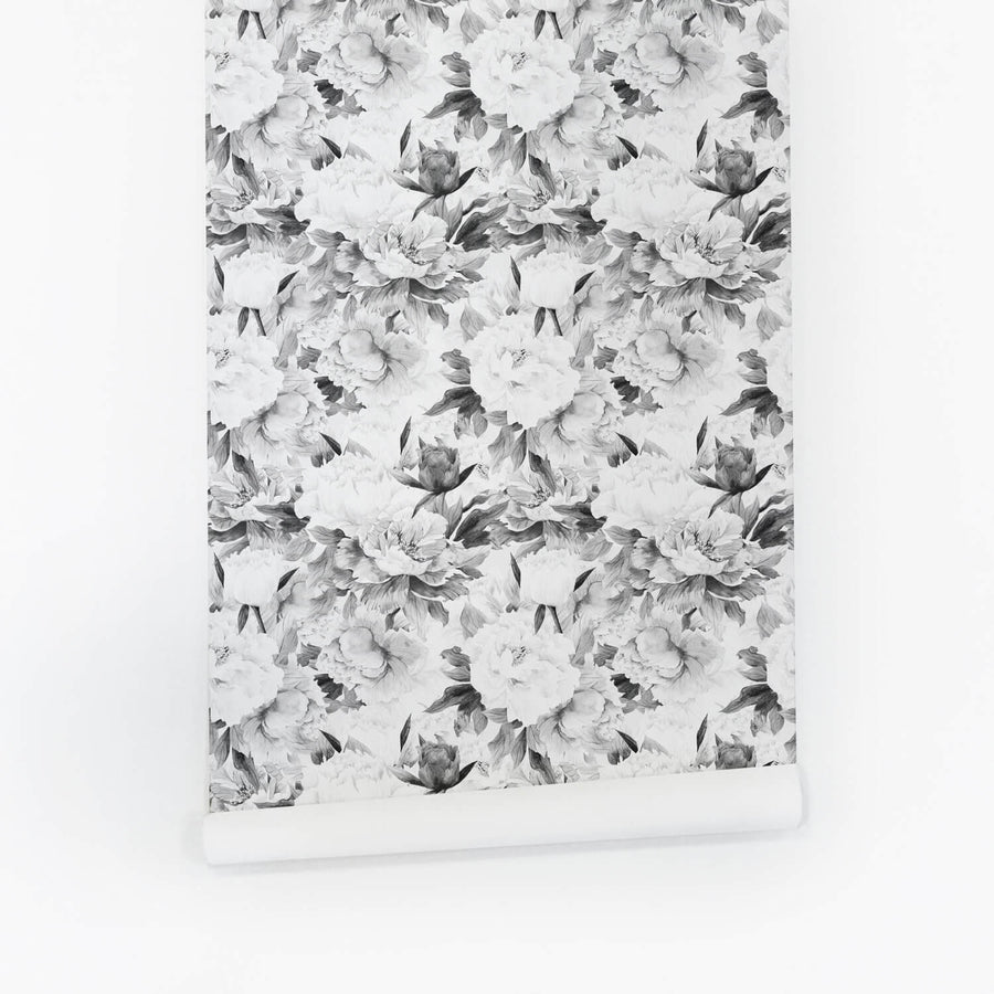 Classic grey peonies removable wallpaper