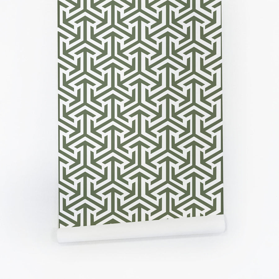 Geometric removable wallpaper in green color