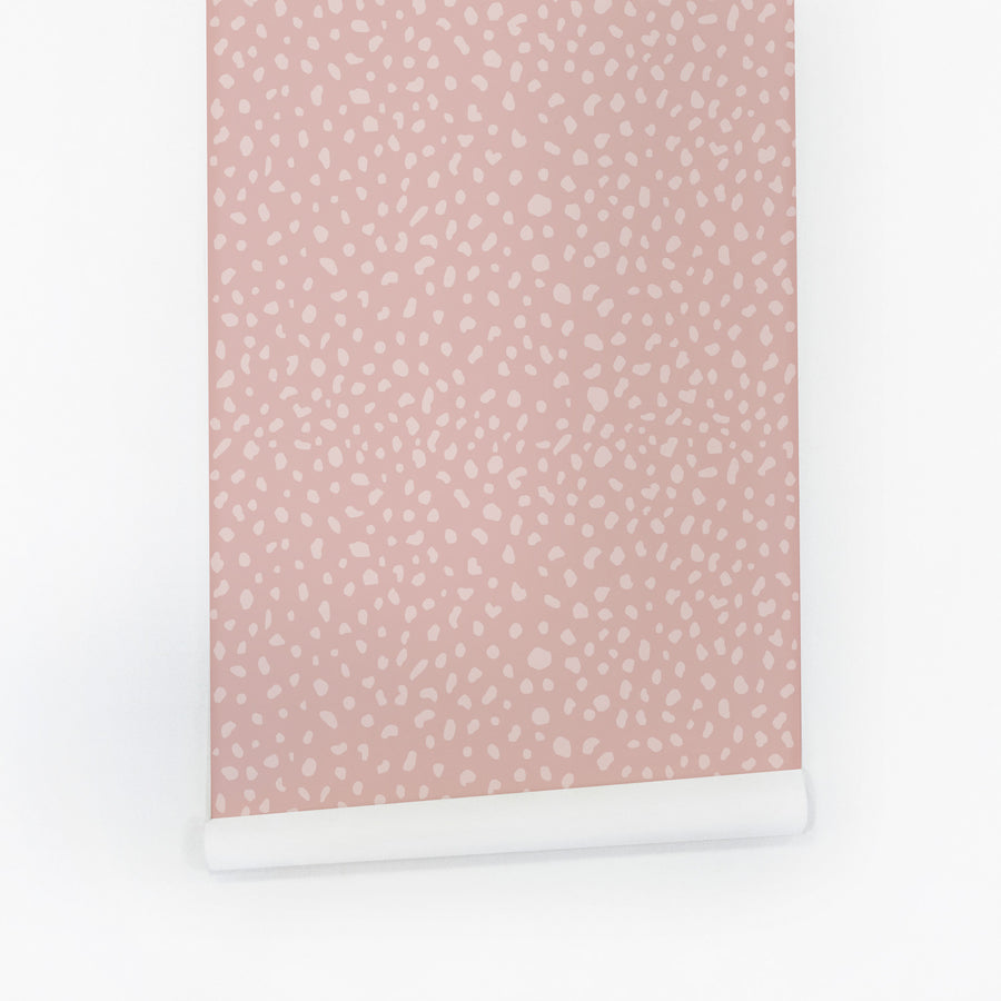Pale pink animal print removable wallpaper by Livettes