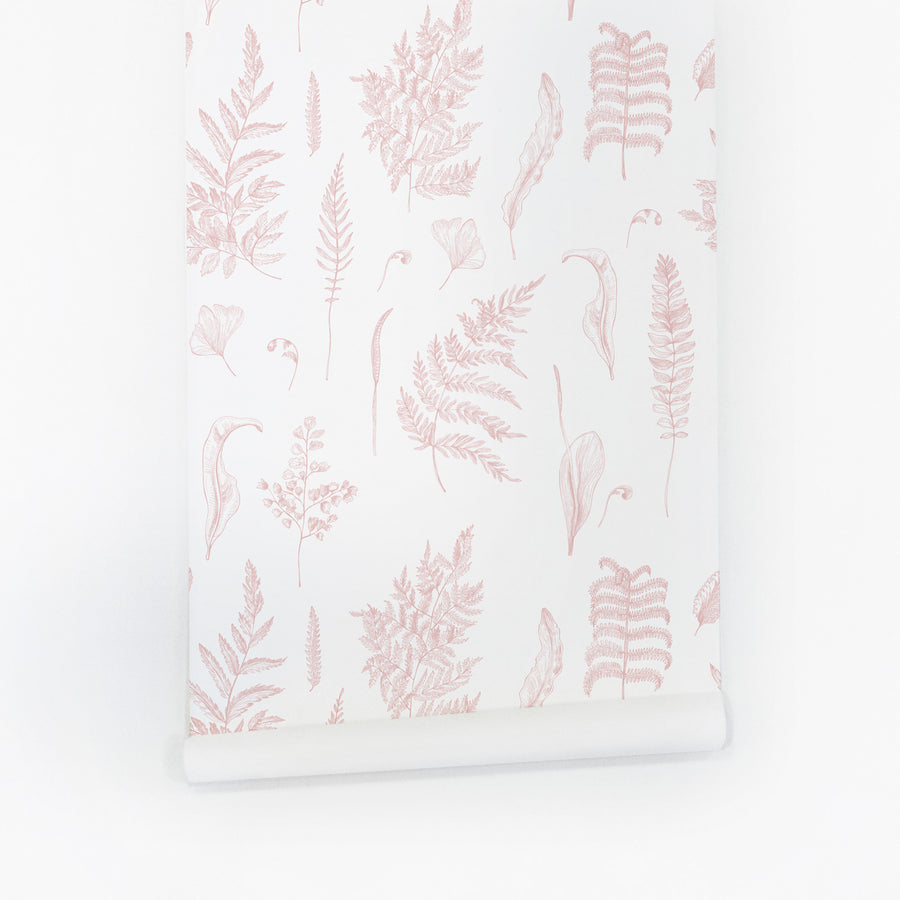 Pink botanical design removable wallpaper for nursery interior