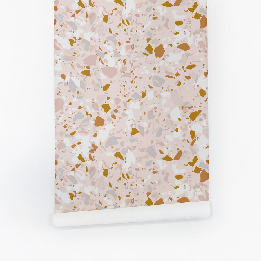 Pink terrazzo design removable wallpaper