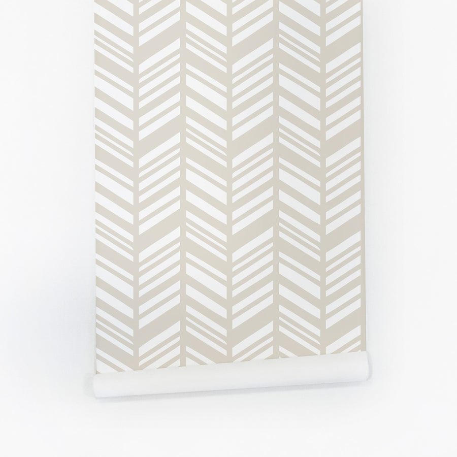 Mist color herringbone pattern removable wallpaper