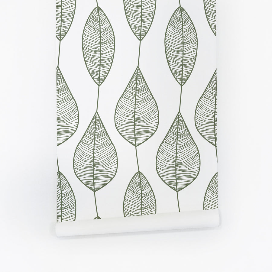 Green stripy leaves removable wallpaper