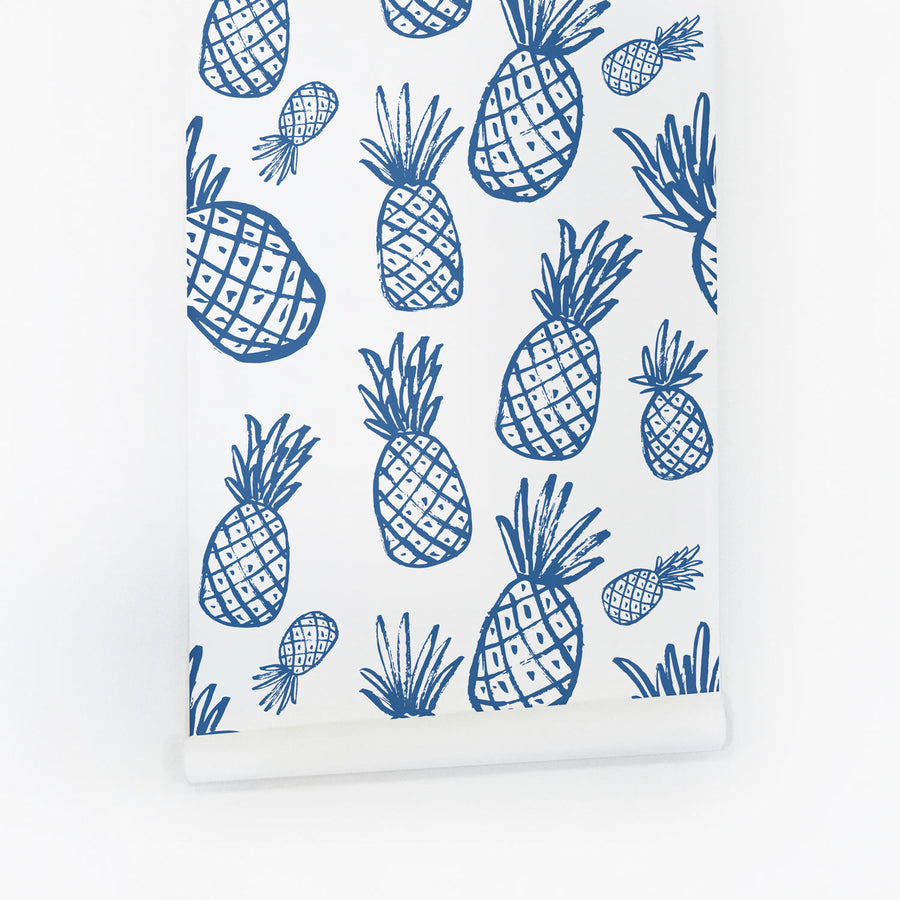 Blue pineapple pattern removable wallpaper