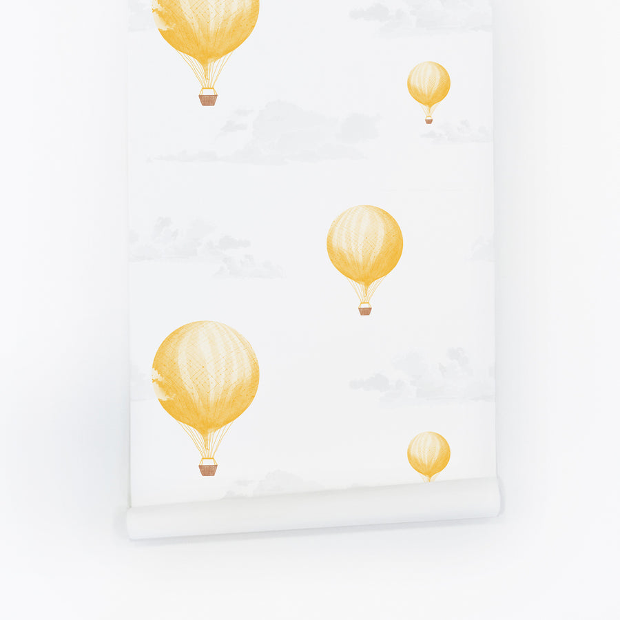 Yellow vintage hot air balloon removable wallpaper