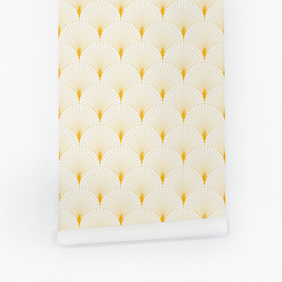 Sunny yellow design removable wallpaper with scallop print