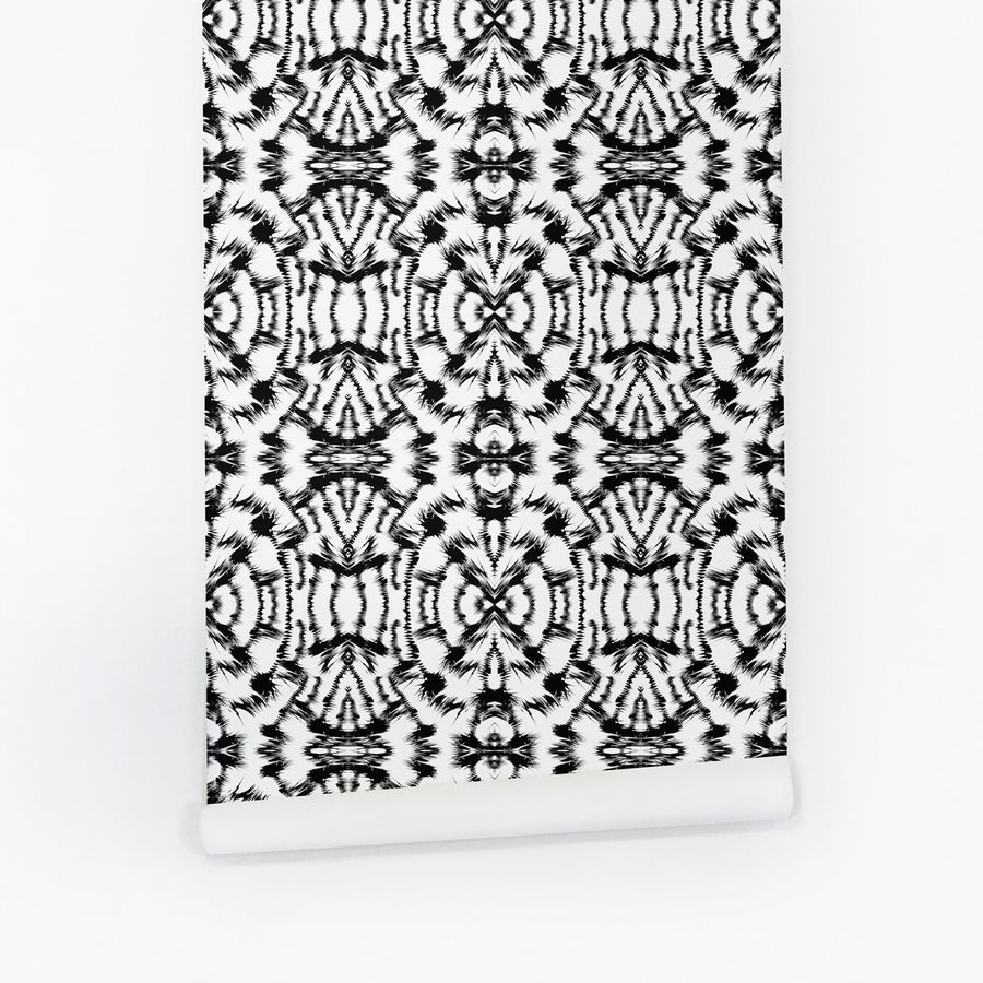 Black and white modern tribal temporary wallpaper