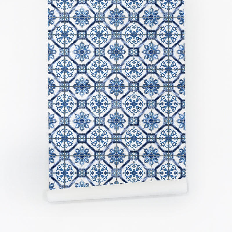 Blue tile removable wallpaper roll