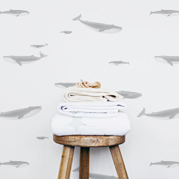 Neutral whale pattern ocean theme wallpaper