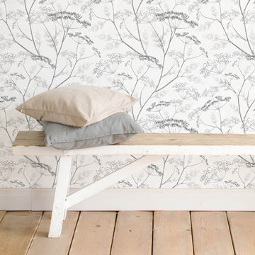 Grey botanical wildflower removable wallpaper