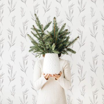 Grey foliage print removable wallpaper