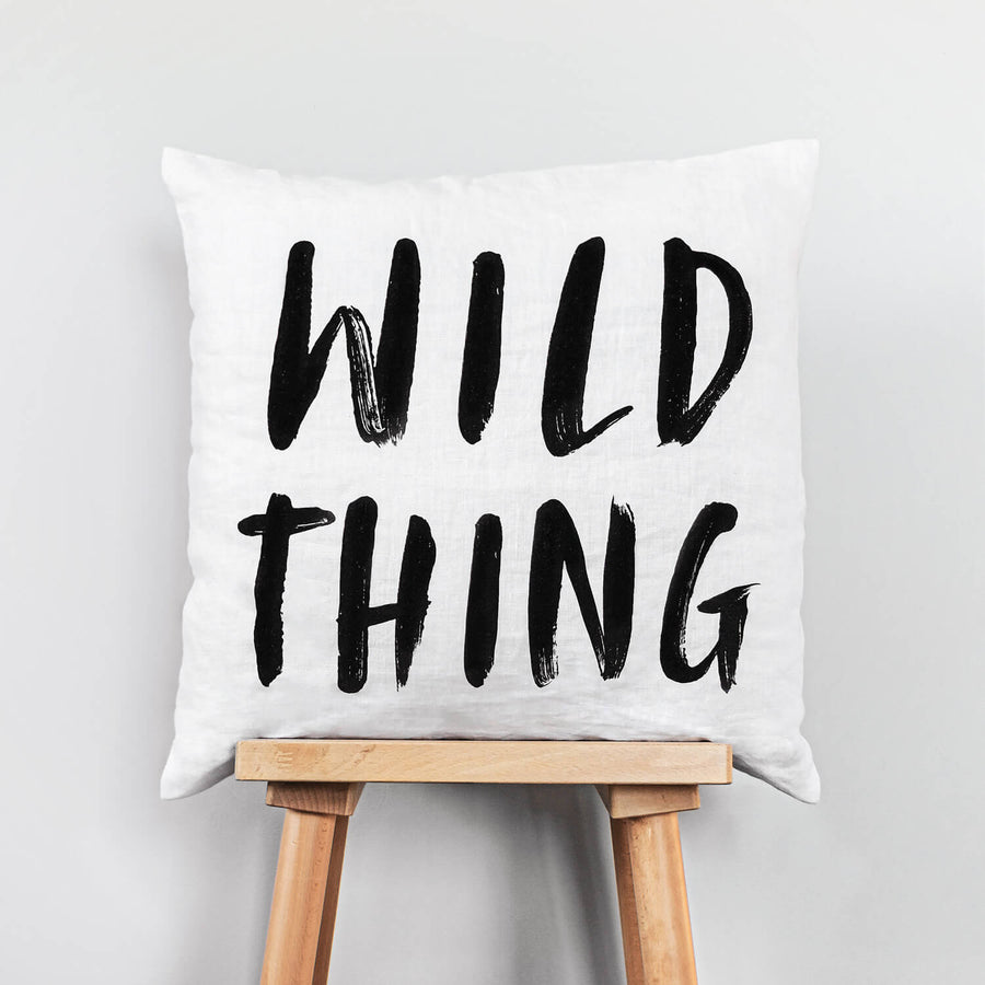 Wild Thing washed linen pillow cover