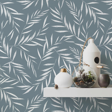 Windy Blue foliage removable wallpaper